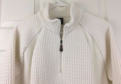 Lands End Fleece Jacket Sweater Pullover Stand Up Collar Heavy Half Zip Ivory XL #LandsEnd #Pullover #Casual