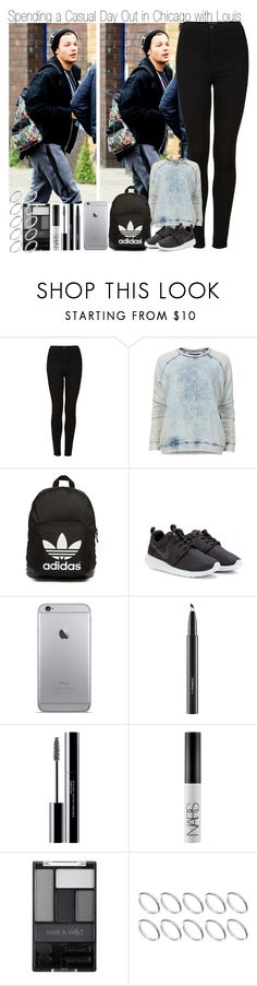 """""""Spending a Casual Day Out in Chicago with Louis"""" by elise-22 ❤ liked on Polyvore featuring Topshop, Designers Remix, adidas Originals, NIKE, MAC Cosmetics, shu uemura, NARS Cosmetics, Wet n Wild and ASOS"""