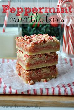 Peppermint Crumble Bars    Ingredients    2 cups flour  1 cup butter, softened  1/2 cup sugar  2 cups white chocolate peppermint candy (like Andes peppermint bits)  1 - 14 oz can sweetened condensed milk  Instructions    Preheat oven to 350º.  Use a pastry cutter or a fork to cut the butter, sugar, and flour together until crumbly.  Press a little