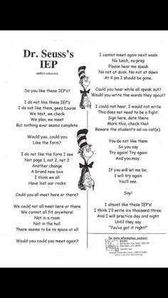 The Love and Hate relationship with an IEP is serious! I love Dr. Seuss take on an IEP. I'm sure most parents would agree with me on this one! Teaching Humor, Teaching Quotes, Teaching Tools, Teaching Ideas, Creative Teaching, Student Teaching, Dr. Seuss, Teacher Memes, School Teacher