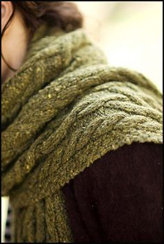 love the textures: the cable knit pattern in Berroco's blackstone tweed yarn