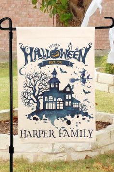 Add some Halloween spirit to your front porch with this eerie haunted house flag. Personalize it with your family's name and have it stand out and great people visiting your home. See more party ideas and share yours at CatchMyparty.com