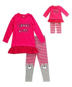 This 'Unbearably Sweet' Leggings Set & Doll Outfit - Toddler & Girls is perfect! #zulilyfinds