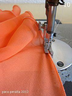 Tutorial de dobladillo de tela transparente.