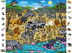 Safari - Look and Find Jigsaw Puzzle by Ravensburger Wild Animals Pictures, Animal Pictures, Hidden Picture Puzzles, Birthday Bulletin Boards, Animal Art Projects, Nursery Canvas, Creative Activities For Kids, Picture Writing Prompts, Hidden Pictures