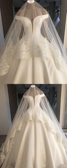 Off Shoulder Floor Length Satin Wedding Dresses Ballgowns - so pretty - Hochzeitskleid Princess Wedding Dresses, Dream Wedding Dresses, Bridal Dresses, Bridesmaid Dresses, Satin Wedding Gowns, Ballgown Wedding Dress, Satin Gown, Ball Dresses, Ball Gowns