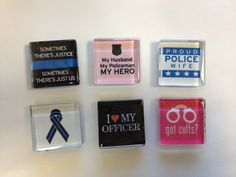 Magnets - set of six - fun police magnets, glass magnets, fridge magnets, thin blue line magnets, cubicle magnets on Etsy, $10.50
