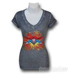 I love the mix of the plain grey background which enhances the red and blue of the design. The V neck gives a very girly slant to a very masculine theme. If you have boobs / curves the v neck helps to enhance your natural shape and lessens the blobby look/