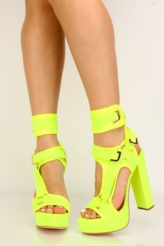 Sexy platform neon yellow platform heels High Heel Pumps, Pumps Heels, Stiletto Heels, Yellow Heels, Neon Yellow, Spring Shoes, Summer Shoes, Rainbow Chevron, Gladiator Heels