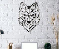 Настенный декор Wolf - металл - черный, 50х37 см