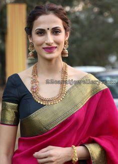 Shilpa Reddy in Antique Peacock Haram Ruby Jhumkas #GoldJewelleryBeautiful