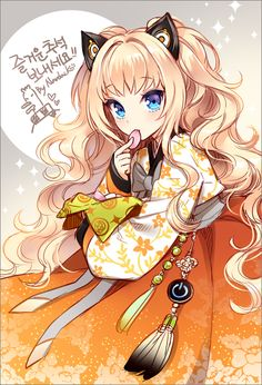 Tags: Anime, Vocaloid, Orange Outfit, Nardack, Sash, Sparkles, Hanbok