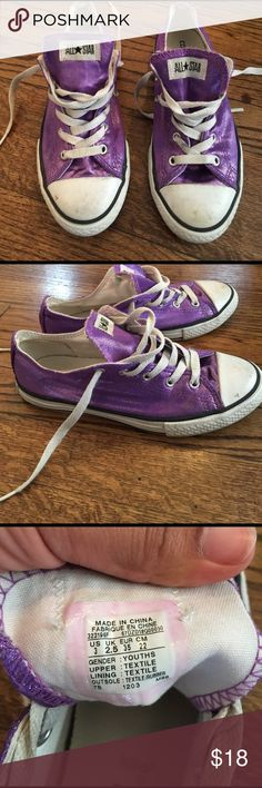 Converse all star chuck taylors Size 3 but these run large. Purple and sparkling. These could clean up nice, but I don't have time to do that so I'm selling. Priced to sell Converse Shoes Sneakers