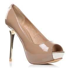 """Moda in Pelle INSTINCT.  For the ultimate in evening style complete your outfit with these nude high heeled peep toe court shoes with hidden wedge, metallic heel and full leather lining and sock.    STYLE:  PEEP-TOE GLITZY COURT ON METALLIC HEEL AND HIDDEN WEDGE    HEEL:    Very High Heel (greater than 4.5"""")    MATERIAL:  Patent."""