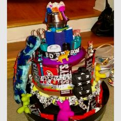 A gift for our teachers in the vet tech program at maple woods. Instead of a diaper cake- its an RVT cake. Equipped with vetwrap, collars, bowls, toys, pens, scissors, gauze wrap, etc.