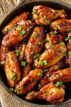 Oven Baked Chicken Wings The BEST wing recipe ever! Juicy chicken wings are oven baked in a flavorful honey garlic sauce. - These Oven Baked Chicken Wings are the BEST wing recipe ever! Juicy chicken wings are oven baked in a flavorful honey garlic sauce. Cooking Chicken Wings, Oven Baked Chicken Wings, Honey Garlic Chicken Wings, Oven Wings, Chiken Wings, Wings In The Oven, Frango Chicken, Tasty Dishes, Appetizer Recipes