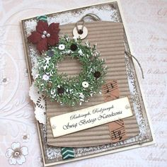 Prim Christmas Card...with cardboard, wreath, & poinsettia.