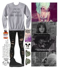 """I long for that feeling to not feel at all."" by xoxolonxoxo ❤ liked on Polyvore featuring Converse, PhunkeeTree and Ray-Ban"
