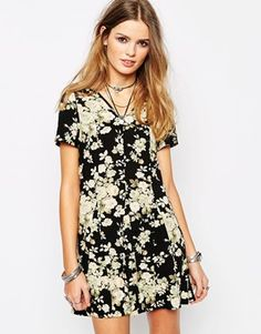 Glamorous Fit and Flare Skater Dress in Vintage Floral Print