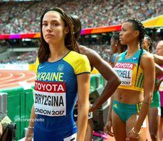 Anastasiia Bryzgina, Ukraine, enters the stadium and onto the… – Athletics