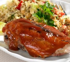 Thrifty Foods - Recipe - Bone-in Chicken Breast with Honey Mustard BBQ Sauce - this was really good! We brined our frozen chicken first. So moist and tender!