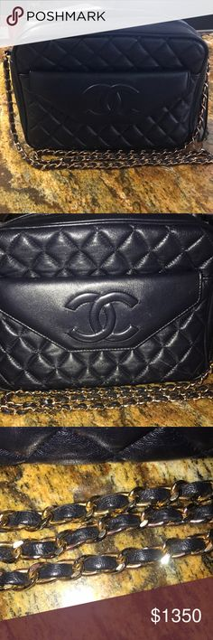Vintage Chanel Vintage authentic Chanel Navy Blue gold hardware   Discoloration on the chain and scuff marks on all corners of the bag see photos   Comes with authenticity card CHANEL Bags