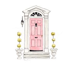 Pink Door Art Print Hand Painted Watercolor Charleston South Carolina Pink Front Door Illustration S - Home Decoration Building Illustration, House Illustration, Watercolor Illustration, Watercolor Paintings, Original Paintings, Watercolor Artists, Watercolours, Oil Paintings, Pink Door