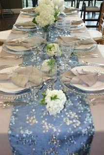 table runner and flowers, perfect