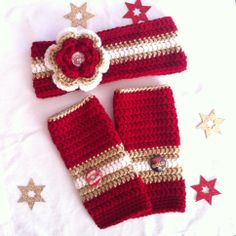 San Francisco 49er inspired headband and glove set.  Made by My Tangled Thread on Etsy. #mytangledthread