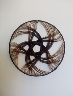 Beautiful weaving by Auckland artist Ruth Castle. Hand woven from cane with a dyed rattan core, we love these intricate dishes as decorative wall hangin. Types Of Weaving, Weaving Art, Hand Weaving, Basket Tray, Weaving Designs, Basket Weaving, Handicraft, Fiber Art, Wicker