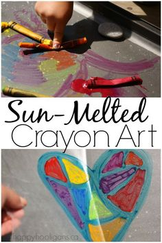 Sun Melted Crayon Art Activity: a terrific art technique for a warm day.  Great for toddlers and preschoolers but older kids will love it too. Easy, inexpensive and fun! - Happy Hooligans