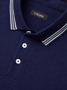 Made for the man whose leisurely pursuits demand style and performance.Discover Navy Cotton Piqué Logo Polo Shirt and shop online Z Zegna Mens Polo T Shirts, Polo Tees, Pique Polo Shirt, Tee Shirts, Men's Polo, Shirt Men, Camisa Polo, Collar Designs, Shirt Designs