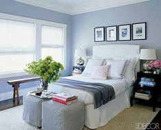 Stools eat end of bed instead of bench? Elle Decor - Monelle Totah - white & purple bedroom design with slip-covered white . White Upholstered Headboard, Slipcovered Headboard, Slipcovers, Blue Gray Bedroom, White Bedroom, Light Bedroom, White Bedding, Mauve Bedroom, Airy Bedroom