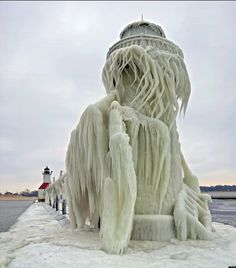 Icy Lighthouse on Lake Michigan