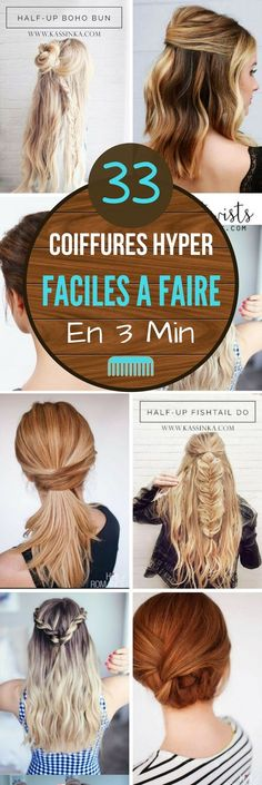 33 COIFFURES HYPER FACILES A FAIRE EN MOINS DE 3 MIN We have all been late at least once in his life, and it is normal we are human! Fast Hairstyles, Braided Hairstyles, Medium Hair Styles, Curly Hair Styles, New Hair, Your Hair, Hair Cute, Crazy Hair, Ombre Hair