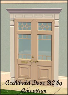 Archibald Door from the Regal Living set 3t2 conversion. The door has 6 recolors which somewhat match the Second Empire Sims 2 building set....