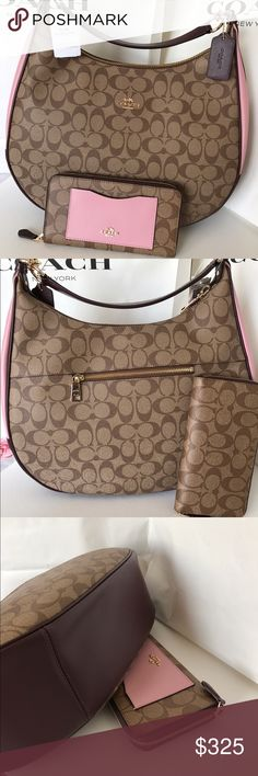 Coach Hobo Set This beautiful Coach Bag abd wallet set is brand new with tag!! %100 Authentic!! No trade. Color Light brown, Burgundy, pinkBag has a crossbody strap and shoulder strap is enough to carry on your shoulder! Coach Bags Hobos