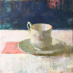 """Jon Redmond -Cup and saucer 10""""x10"""", oil on board"""