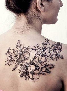 Hummingbird Vintage Floral Back Tattoo - MyBodiArt.com