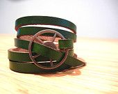 Leather Wrap Bracelet in Deep Green leather with Large Silver buckle by fullofcraft