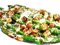 I'm so excited to share Caesar Asparagus, Low Calorie, Big on Deliciousness! If you love Caesar salad you'll love this skinny one using asparagus. Each serving, 95 calories, 4 grams of fat and 3 Weight Watchers POINTS PLUS. http://www.skinnykitchen.com/recipes/caesar-asparagus-low-calorie-big-on-deliciousness/