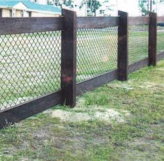 chain wire black fence timber - Google Search
