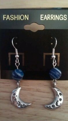 Dragon Vein Agate Moon Earrings