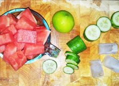 Ingredients for a watermelon frappe! The colour combinations compliment each other beautifully.