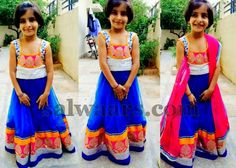 Cute Girl in Blue and White Skirt - Indian Dresses
