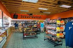 One of the world's largest jerky outlets! Beef jerky, turkey jerky, elk,venison, buffalo, alligator jerky...even kangaroo! Bag your own up or pick an assortment of pre-packaged jerkies, you'll want to try them all.