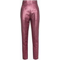 Philosophy Di Lorenzo Serafini High Waisted Lurex Jacquard Slim... ($745) ❤ liked on Polyvore featuring pants
