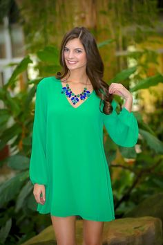 Flowers In The Wind Tunic-Kelly Green - $44.00