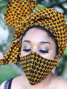 HEADWRAP & FACE MASK set, African Print Face Mask, Ankara Mask, 100% Cotton Reusable Face Mask w/ Filter Pocket, Shaped Mask HWFM2012 Nose Mask, Face Mask Set, Mask Online, Layered Fashion, African Beauty, African Fashion, Mouth Mask, Diy Mask, Fashion Face Mask