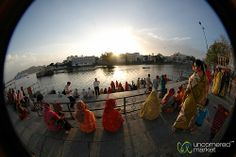 Thinking Cycles of Renewal:  Sunset Puja in Udaipur, India [360-Degree Panorama]